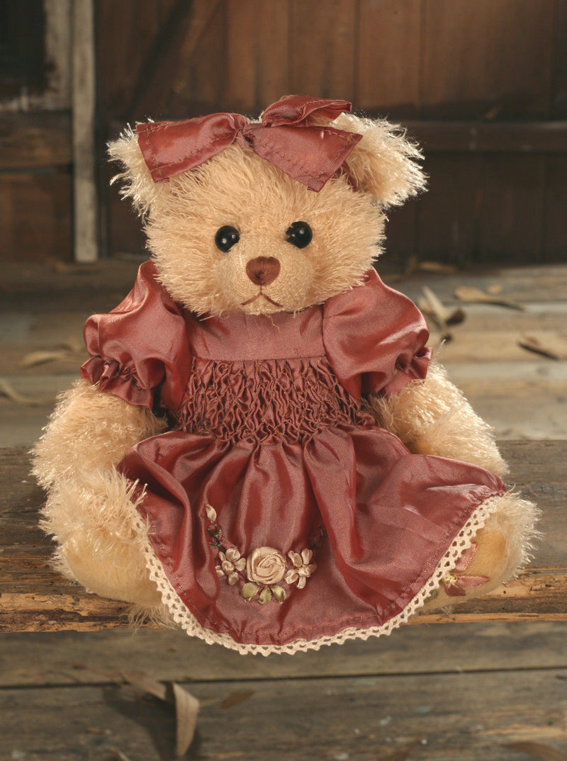 Teddy Bear 'Serina' Settler Bears Handmade Silky Dress Gift 25cms BRAND NEW