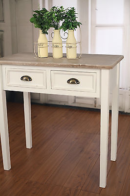 Sofa Table Desk French Provincial Antique White with 2 Drawers
