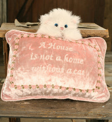 Cushion Throw Pillow Embroidered Cat Themed Filled 20x28cms. BRAND NEW
