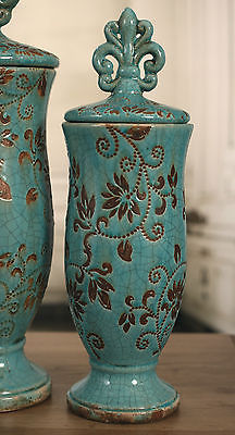 Ceramic 'Fleur de Lis' Top Curved Canisters. BRAND NEW. Two Sizes Available (Small)