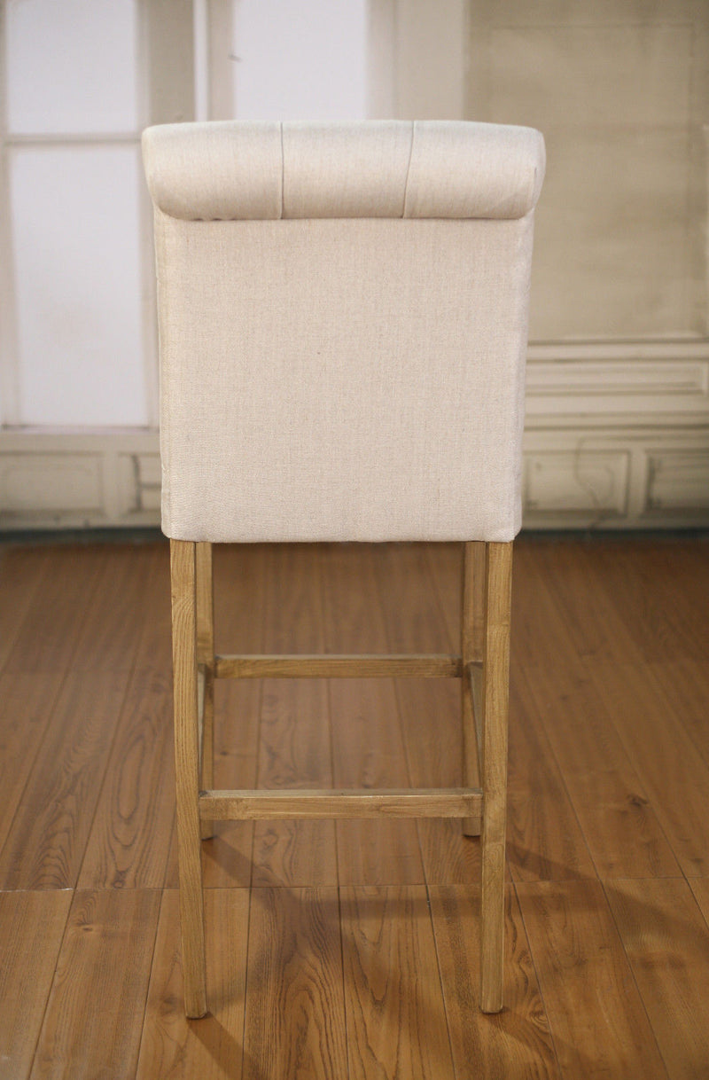 Bar Stool Oak Linen Upholstered French Provincial Studded Barstool