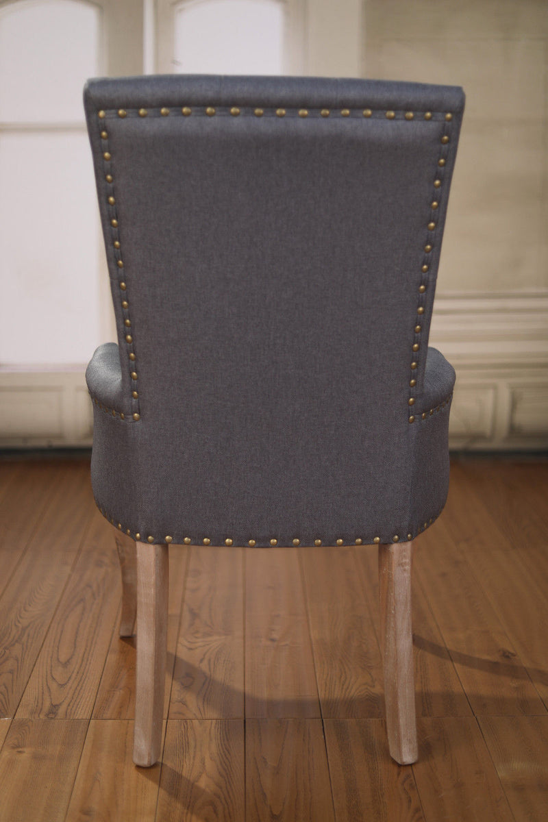 Dining Chair Hamptons French Provincial Hardwood Bedroom Grey Upholstered New