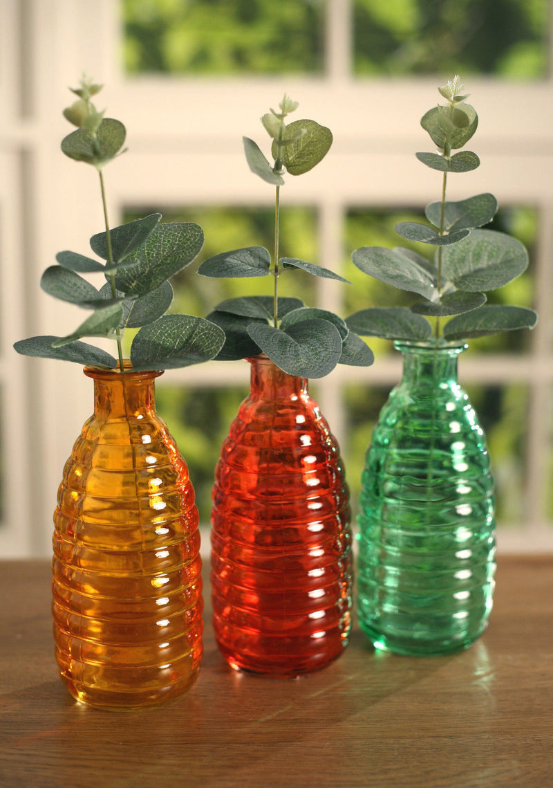 Coloured Decor Glass Beehive Bottles - 3 Colours Available