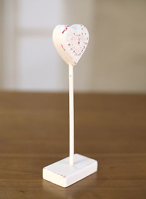 2 x Carved Wood & Resin Heart on Stand Home Decor 20cms