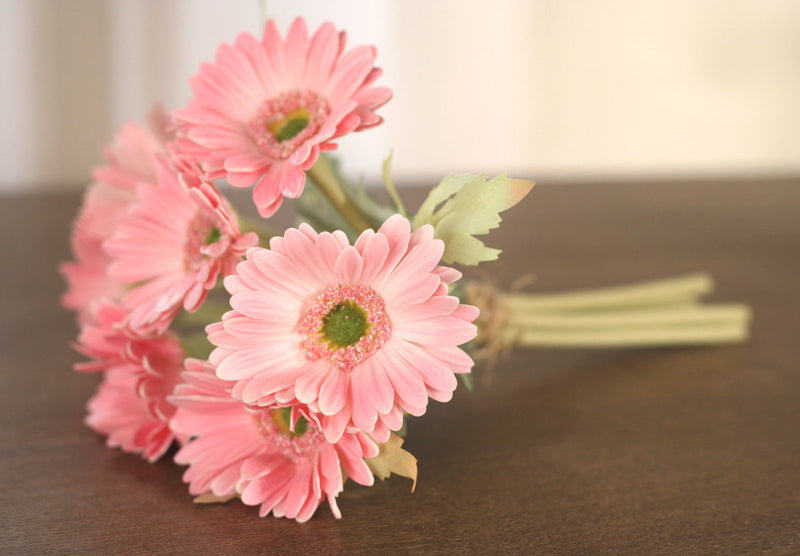 Bunch of 7 Faux Gerberas Realistic Pink Artificial Silk Flowers Wedding Decor