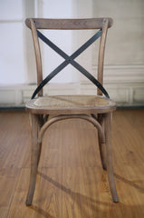 Dining Chair Oak Burned Wash French Provincial Cross Back Seat Cafe Style New