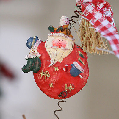 Christmas Ornament Santa Festive Hanging Tree Decoration Heart Rustic 50cms