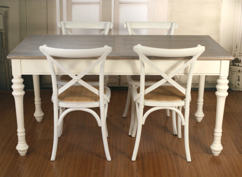 Setting 5 PIECE French Provincial Dining Table & Cross Back Chairs Cafe Style