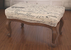 Ottoman French Script USA Oak Soft Linen Upholstered American Oak Stool