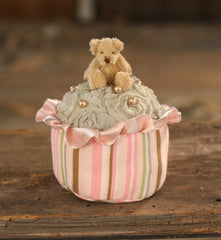 Plush Cupcake Ornament With Bear Home Decor Gift 10cms BRAND NEW Green