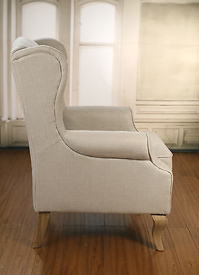 Wingback Button Back Linen Chair with Ottoman Oak
