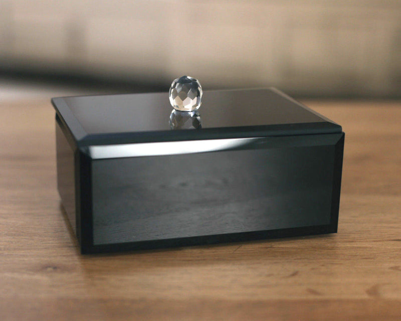Black Jewellery Box 12cms Elegant Home Decor Gift Sparkle with Gift Boxed