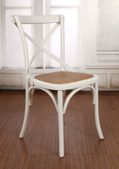 Charmont Dining Chair Cross Back Birch Hardwood - White