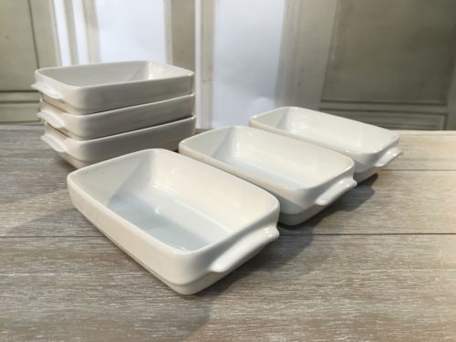 6 x Ceramic Condiment Dishes White Sauce Bowls Decor Casserole Serveware 17cms