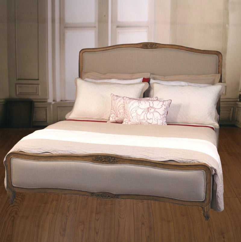 Full Queen Size Bed USA Oak Hardwood Upholstered Linen French Provincial