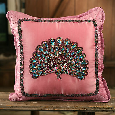 Cushion Throw Decor Pillow Embroidered Peacock Filled 38cms BRAND NEW