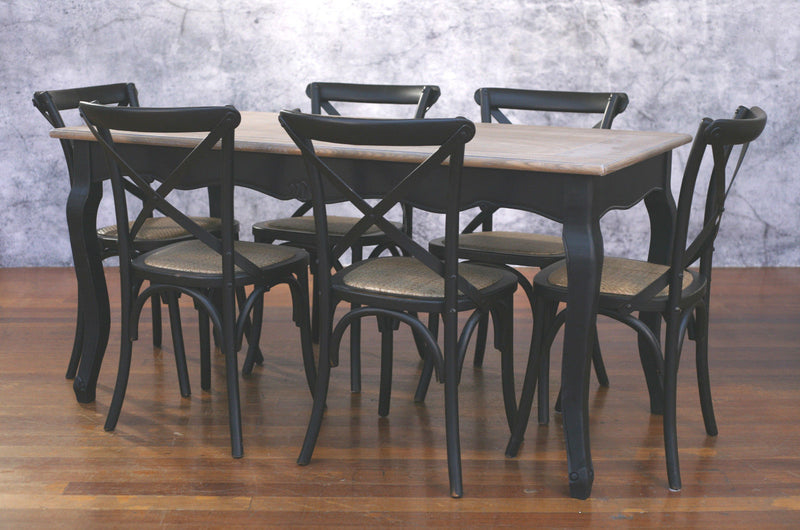 Setting 7 PIECE 160x80 Dining Table Cross Back Chairs Package