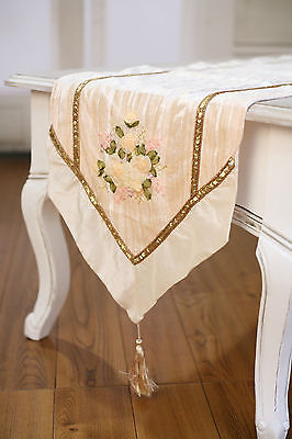 Table Runner Cream with Embroidery Home Decor Party Decoration 150cms NEW