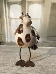 Cow Ceramic Antiqued Style Farm Home Decor Gift Farmhouse Metal 24cms BRAND NEW