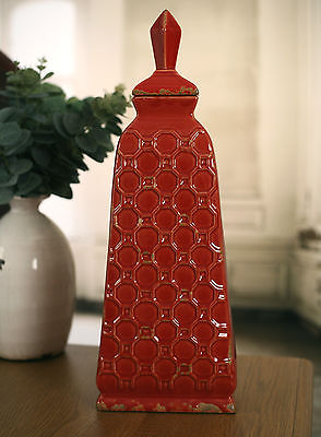 Canister Jar Vase Antique Style Red French Provincial Home Decor Vase 45cms NEW