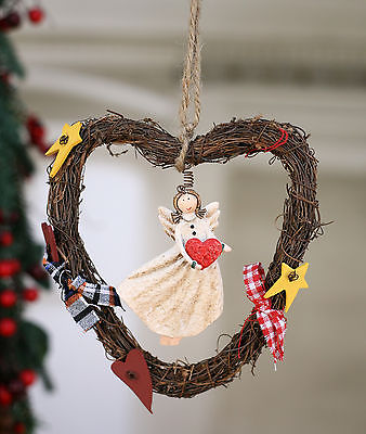 Christmas Ornament Angel Festive Hanging Tree Decoration Heart Twig Rustic 17cms