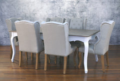 Setting 7 Piece 2x1m Dining Table & 100% Linen Chairs Package