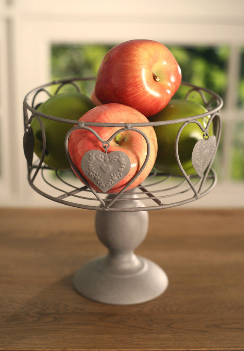 Fruit Bowl Country Style Tin Heart French Provincial 20cms