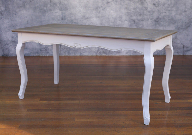 Dining Table French Provincial 160x80 Timber Top Antiqued Design French Legs
