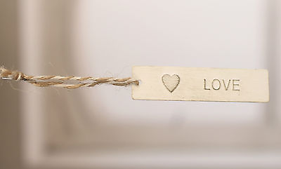 10 x LOVE Metal Tag with Twine Loop Home Decor Party Favour