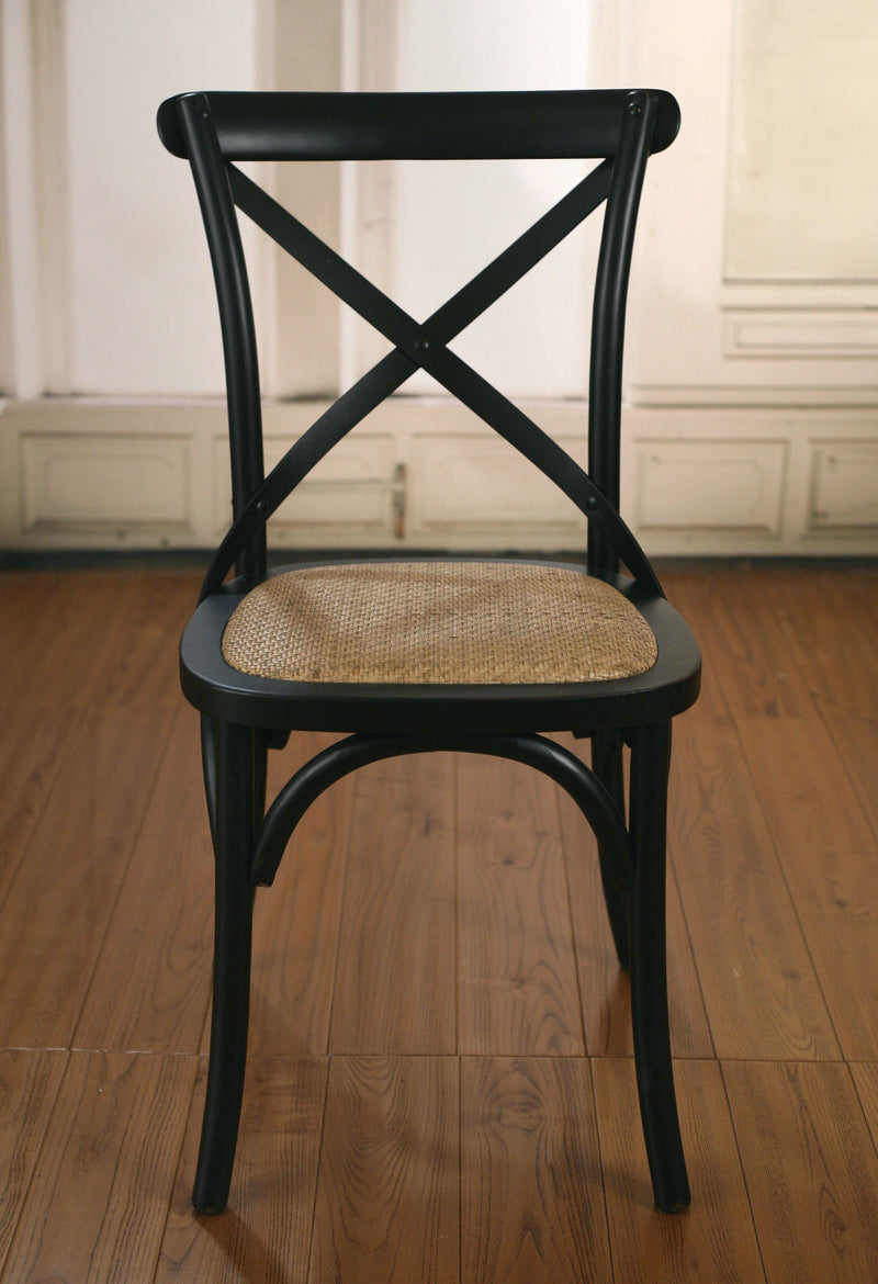 Dining Chair Cross Back French Provincial Birch Antique Black Cafe Style