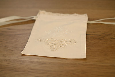 Lace Jewellery Bag Pouch Gift - Beige 17cms BRAND NEW