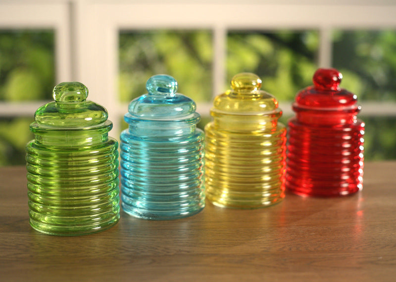 Set of 4 Coloured Decor Glass Canisters Home Decoration Gift NEW