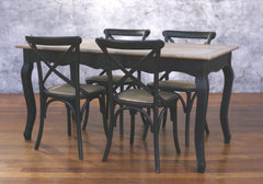 Setting 5 PIECE 160x80 Dining Table Cross Back Chairs Package