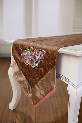 Table Runner Brown with Pink Embroidery Home Decor Party Decoration 150cms