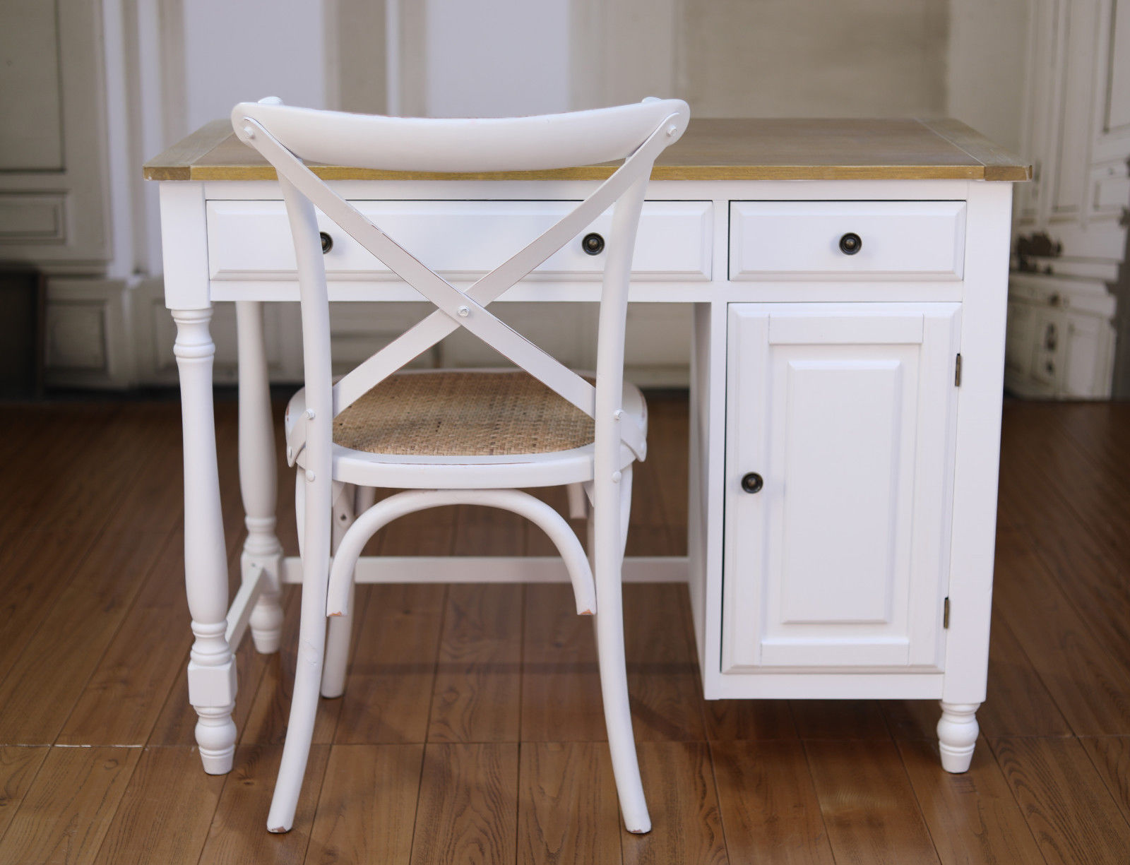 Desk Chair Package French Antique White Timber Top Hamptons