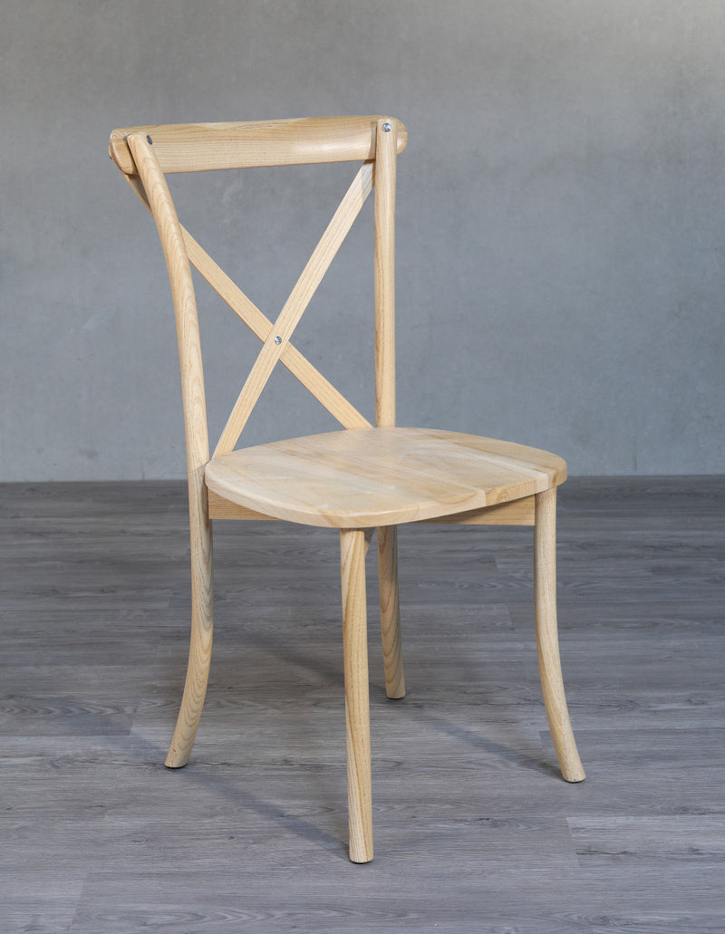 Dining Chair French Provincial Cross Back Seat Cafe Style Hardwood 2 Colours