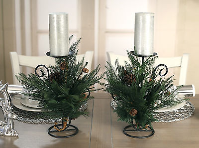 Set of 2 Christmas Candle Holders Table Centres Decor Fern 1 Candle