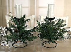 Set of 2 Christmas Candle Holders Table Centres Decor Pine & Cedar 1 Candle