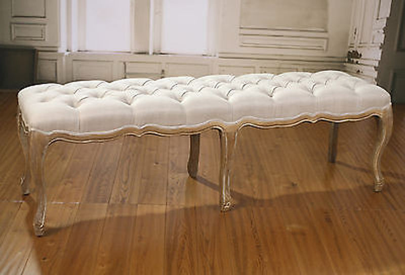 Bed End Stool Oak Ottoman French Provincial Upholstered Linen Button 160 cm