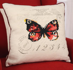 Decorator Cushion Cover - Butterfly Stamp French Provincial Script BRAND NEW