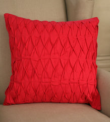 Decorator Cushion 45x45cms Ruched Pink Throw Pillow