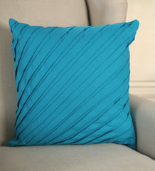 2 x Decorator Cushion Covers 45x45cms - Pleated Teal Throw Pillow Covers NEW