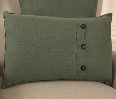 100% Linen Decorator Cushion Covers - Square or Lumbar Green