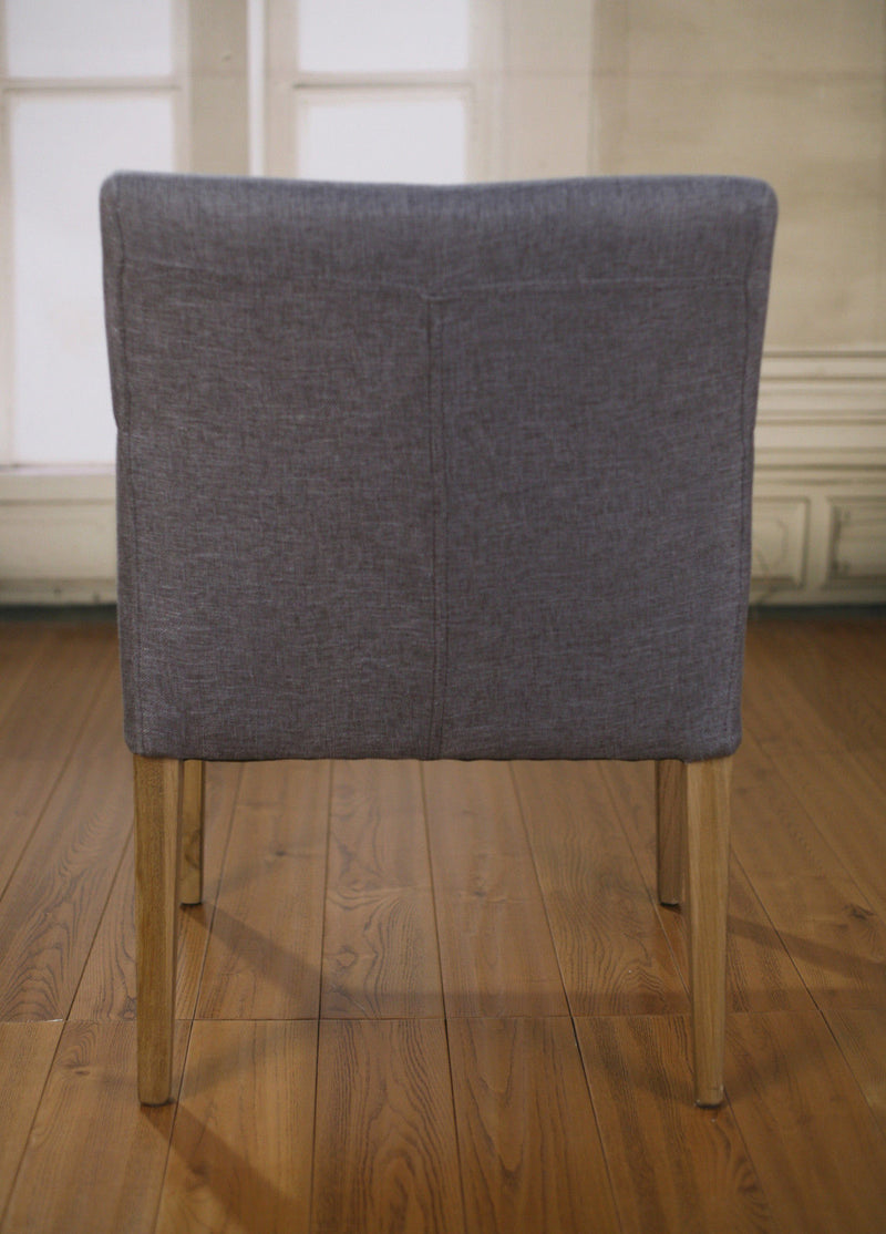 Villiers Dining Chair Grey Linen & Oak Carver
