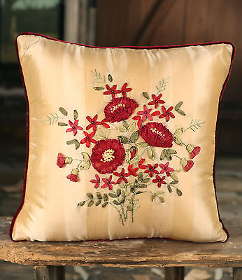 Cushion Decor Throw Pillow Embroidered Flower Silky Filled 40x40cms BRAND NEW