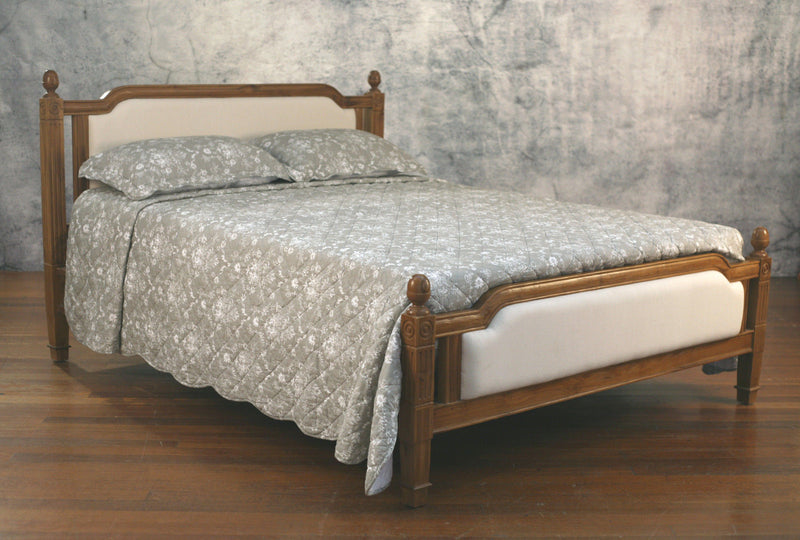 Full Queen Size Bed Distress Finish Teak Hardwood Upholstered Provincial Bed