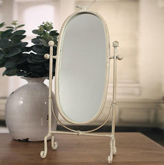 Dressing Table Mirror Home Decor Oval Bird Featured Metal Frame 48cms BRAND NEW