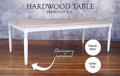 11 Pce Setting Dining Table 240x120cm Hardwood French Provincial Hamptons White