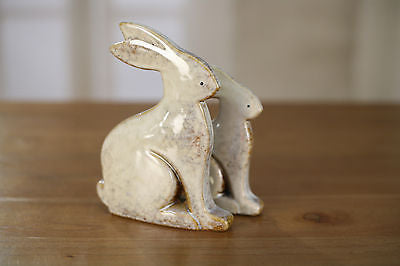 Set of 2 Ceramic Flat Rabbits Home Decor Rustic French Provincial Bunny 17cms