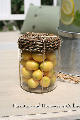 French Provincial Glass Jar with Faux Fruit Wicker Lid Home Decor Heavy Glass (Lemons)